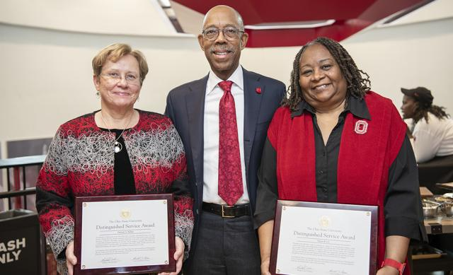 Image of Dr. Drake, President of The Ohio State University presenting Distinguished Service Awards